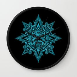 Ancient Blue and Black Aztec Sun Mask Wall Clock