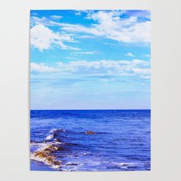 blue ocean view with blue cloudy sky in summer Poster
