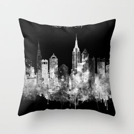 New York City Inverted Watercolor Skyline Throw Pillow