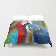 Red and Blue Macaws Crackle Print Duvet Cover