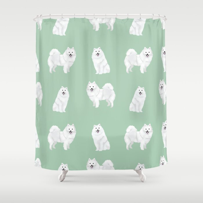 Japanese Spitz pure breed dog pattern pet gifts for dog lovers Shower Curtain
