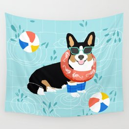 Tricolored Corgi Pool Party - cute corgi dog design pool party summer beach ball dog costume dogs Wall Tapestry