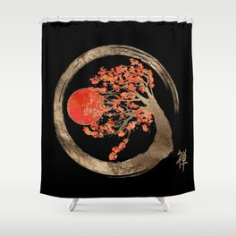 Zen Enso Circle and Golden Sakura Tree Shower Curtain