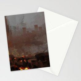 Apocaliptic aftermath nuclear explotion cityscape fire rubble destruction death change future illust Stationery Cards