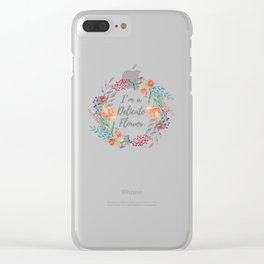 I'm a Delicate Flower print Wreath Silver Text Clear iPhone Case