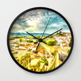 Obidos, small and authentic fortified town in Portugal Wall Clock
