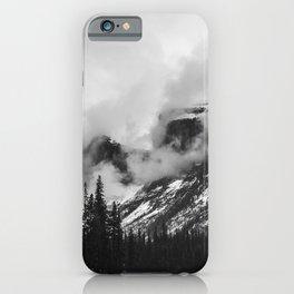Smokey Mountains Maligne Lake Landscape Photography Black and White by Magda Opoka iPhone Case