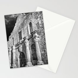 Black & White photograph of the Alamo, in San Antonio, TX Stationery Cards