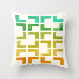 Mid Century Modern Geometric Straight Edge Pattern Colorful Watercolor Teal Yellow Ochre Ombre Gradi Throw Pillow