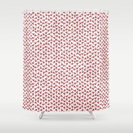Forget Me Nots - Red on White Shower Curtain