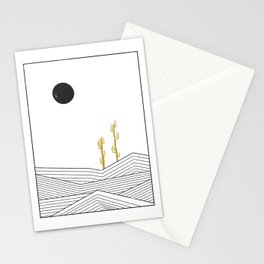 Abstract geometric landscape, desert and cactus Stationery Cards