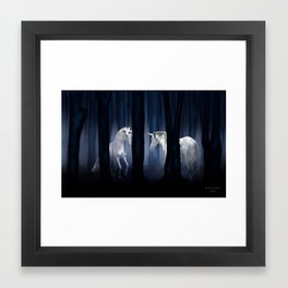 White Unicorns Framed Art Print