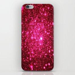 Hot Pink Glitter Galaxy Stars iPhone Skin