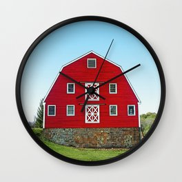 Pretty Red Dairy Barn Wall Clock