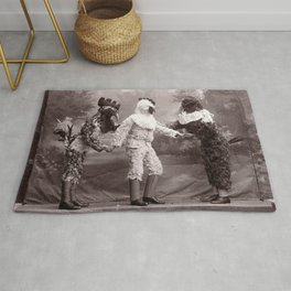 The Chicken Man That Came to Dinner Last Night black and white photograph Rug