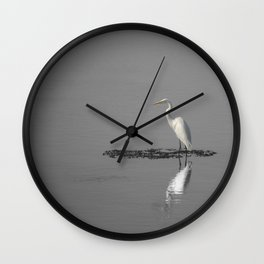 """Mirrored Egret"" by Murray Bolesta Wall Clock"