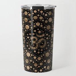 OM Symbol - Dot Art - Black and Gold Travel Mug