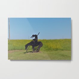 Kansas Indian on a Horse Silhouette with grass Metal Print