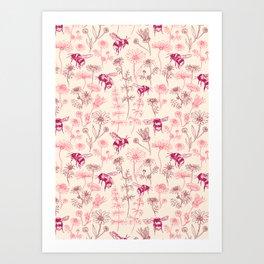 Buzzing Herb Garden (Pink Palette) Art Print