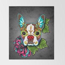 Boston Terrier in Red - Day of the Dead Sugar Skull Dog Throw Blanket