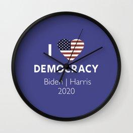 I Love Democracy Vote Biden Harris Wall Clock
