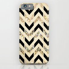 Black & Gold Glitter Herringbone Chevron on Nude Cream iPhone 6 Slim Case