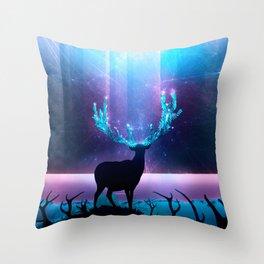 Greenery Deer - Sterling Magenta Throw Pillow