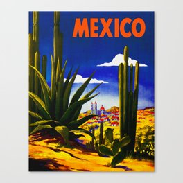 Vintage Mexico Village Travel Canvas Print