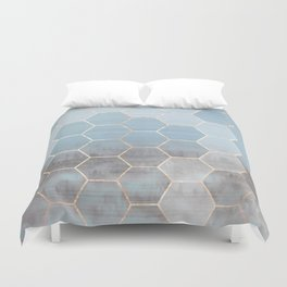 honeycomb winter forest // copper & blue Duvet Cover