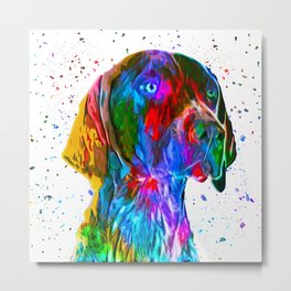 German Shorthaired Pointer Low Poly Metal Print