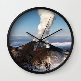 Eruption volcano - effusion from crater lava, gas, steam, ash Wall Clock