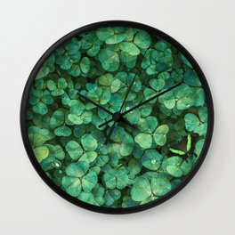 Lucky Green Clovers, St Patricks Day pattern Wall Clock