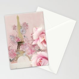 Paris Pink Roses Eiffel Tower Floral Pink Flowers Home Decor Stationery Cards