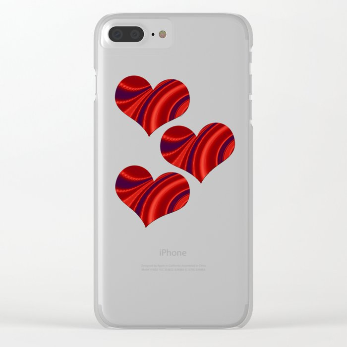 Fractal Heart Trio Clear iPhone Case