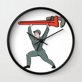 Plumber Lifting Monkey Wrench Cartoon Wall Clock