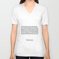 kansas V-neck T-shirts featuring Kansas map by David Zydd