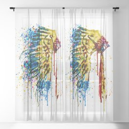 Native American Feather Headdress Sheer Curtain