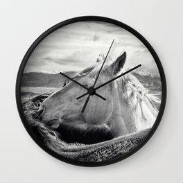 Rugged Horses Photograph Wall Clock