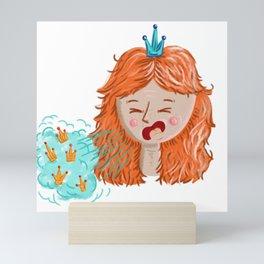 Corona virus girl coughing crowns Mini Art Print