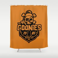 goonies Shower Curtains featuring The Goonies black by Buby87