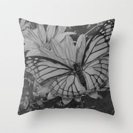 Monarch over Aster Throw Pillow