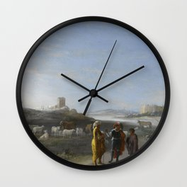 An Italianate Landscape with an unidentified subject from the Old Testament, Cornelis van Poelenburc Wall Clock