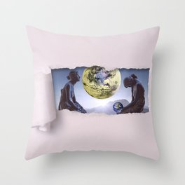 Untimely Ripped Voyeur Views: The World is in Our Hands Throw Pillow