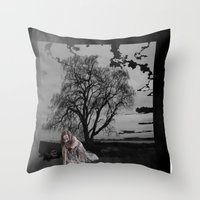 zombie Throw Pillows featuring zombie by Shea33