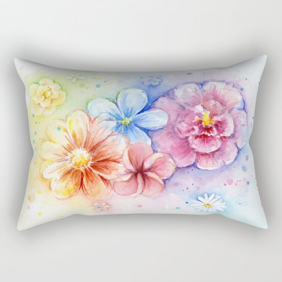 Flowers Watercolor Floral Colorful Rainbow Painting Rectangular Pillow