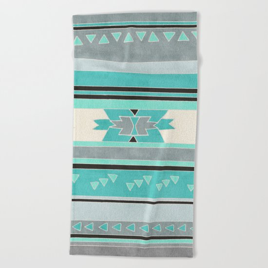 Rustic Tribal Pattern in Teal, Charcoal and Cream Beach Towel