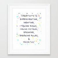 creativity Framed Art Prints featuring Creativity  by Madison Daniels