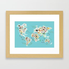 Cartoon animal world map for children and kids, Animals from all over the world Framed Art Print