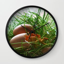 Stegosaurus Dinosaur Hatching from Egg in Nest Wall Clock