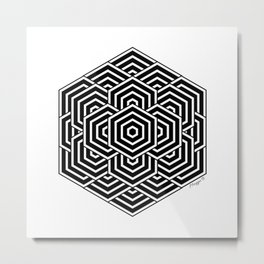 #3 Geometric Hexagon Black And White Metal Print